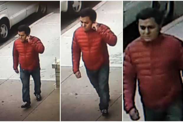 The suspect was last seen in a red coat, NYPD officials said.