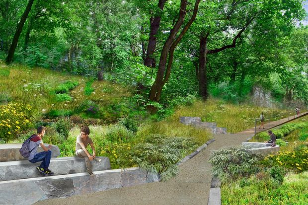 Supporters of the proposed QueensWay released new renderings Wednesday showing what the park would look like in Forest Hills and Glendale.