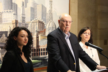 Professor Dick Simpson was joined by co-authors Allyson Nolde and Maureen Heffern Ponicki in releasing the study,