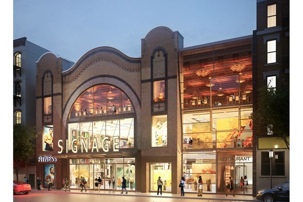 A rendering showing retail at the former Sunshine Cinema property.