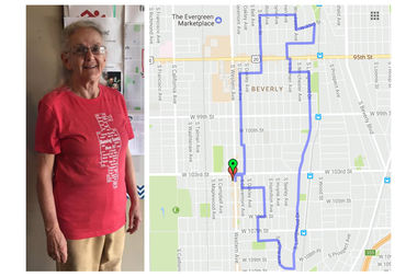 Carolyn Leeb, 71, of Beverly was the first to win a coveted T-shirt for running the