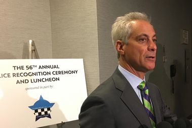 Chicago will borrow $389 million to keep Chicago schools open through the end of the school year — and to make a required payment to the teachers' pension fund, Mayor Rahm Emanuel said Friday, before celebrating police officers honored for valorous service.