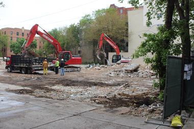 Demolition is all but complete at the former Noble Horse Theater, 1410 N. Orleans St.