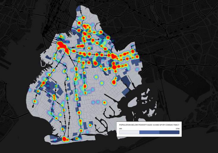 The Brooklyn Defenders Services data on theft of service arrests show hotspots in neighborhoods like Canarsie, Coney Island and Bed-Stuy
