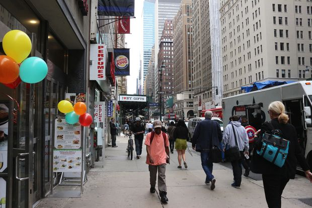 A stretch of sidewalk on Seventh Avenue that could be getting a 10-foot extension.