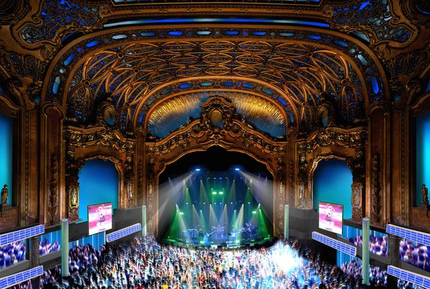 A rendering of the renovated theater shows the historic building's Rococo ceiling inside its 3,000-seat auditorium.