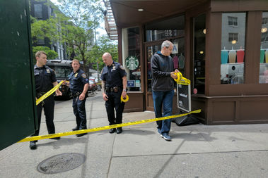 The three victims, who are all male, were stabbed outside 888 Eighth Ave., officials said.