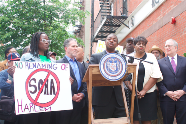 Community leaders and residents spoke at a rally on Wednesday, May 25.