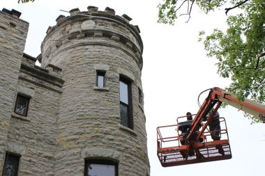 Beverly's Irish Castle Gets A Band-Aid Fix To It's Main Turret