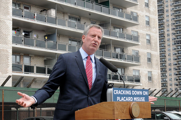 Mayor Bill de Blasio announced a plan to crack down on city employees who abused their parking placards during a press conference in Concourse Village Wednesday afternoon, May 24, 2017.