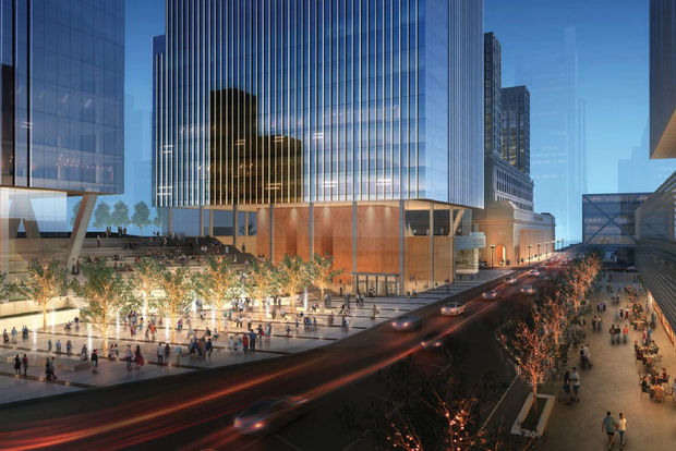 The $1 billion project would include a food hall, rooftop gardens and new residential and office towers.