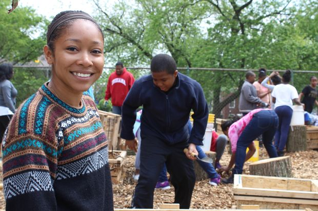 Dejah Powell of Hyde Park is a graduate of John Vanderpoel Humanities Academy in Beverly. She secured several grants to build a community garden Friday at the elementary school at 9510 S. Prospect Ave.