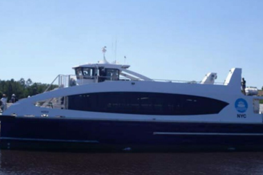 "The next boat to join the NYC Ferry fleet, the ocean-class ""H-203,"" will be christened"