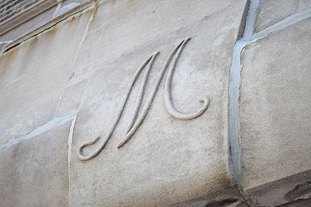 "An ""M"" is still engraved above the Ridge Avenue door frame. [DNAinfo/Linze Rice]"