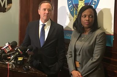 Chicago Public Schools CEO Forrest Claypool, flanked by CPS' Janice Jackson, accused Gov. Bruce Rauner and state lawmakers of