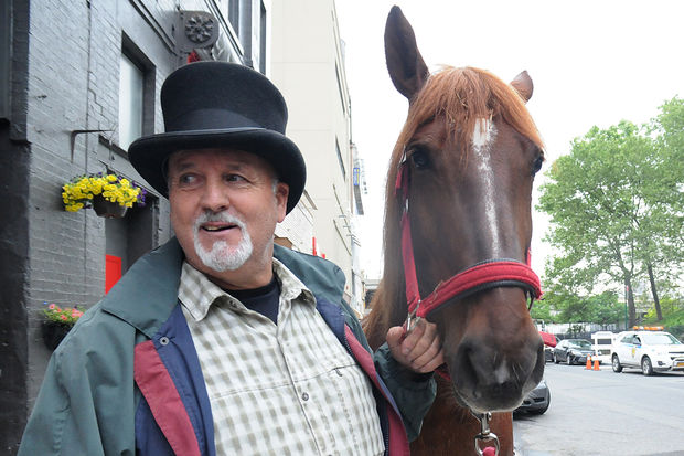 Carriage horse Goldie with Basil Northam, 60, after the horse got loose from the Clinton Park Stables on West 52nd Street on Tuesday, May 30, 2017.