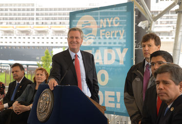 Mayor Bill de Blasio, speaking at an announcement about the Red Hook ferry route, said they would consider adding larger boats to the NYC Ferry system's fleet.