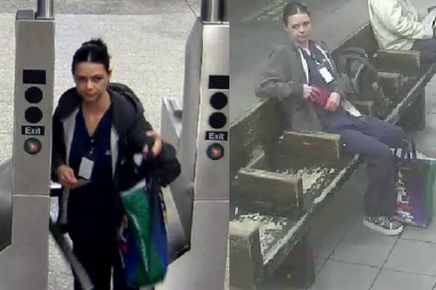 Police are looking for a woman caught on video taking a backpack and cellphone from a Union Square subway platform.