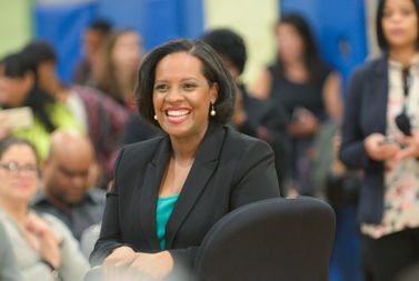 Councilwoman Julissa Ferreras-Copeland at a recent mayoral town hall in Corona.