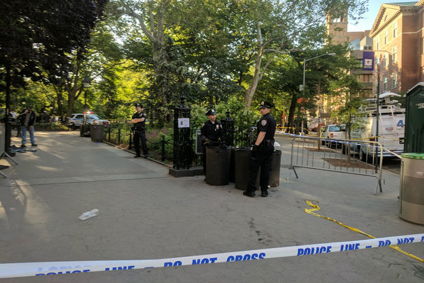 The 38-year-old man was treated at Bellevue Hospital, police said.