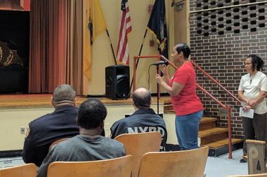 Vertina Brown, the mother of 22-year-old shooting victim Tiarah Poyau, speaks at a town hall meeting addressing public safety at J'Ouvert.