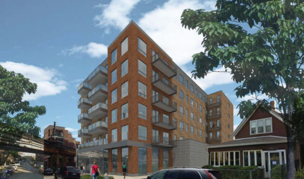 A rendering of the six-story project at 2835-45 W. Belden Ave., which calls for 100 units — 15 of them reserved as affordable housing — and 30 parking spaces. The current proposal offers five more units, 14 fewer parking spaces and is a floor shorter than the 2015 proposal.