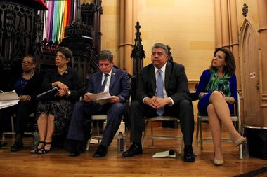 Candidates for District Attorney spoke to voters at a forum in Downtown Brooklyn on Monday night. Starting at the left there are two moderators then candidates Vincent J. Gentile, Acting District Attorney Eric Gonzalez and Anne Swern.