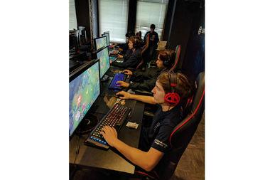 eSports athletes honing their gaming skills at Robert Morris University in the Loop.