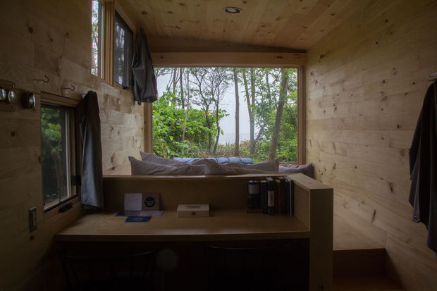 The three tiny homes will be atGateway National Park until Labor Day as part of a pilot program.