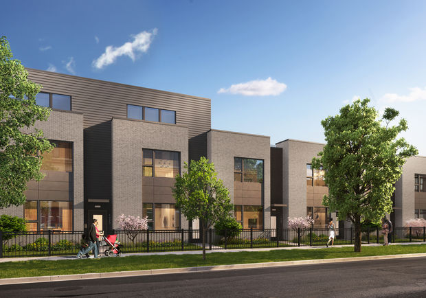 A rendering shows what new town houses in the Roosevelt Square development will look like.