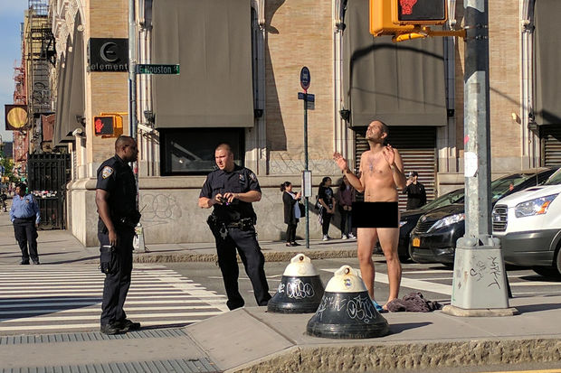 Television talent show contestant Santiago Ogarrio stripped down to the all-together on an East Houston media strip on Thursday morning.