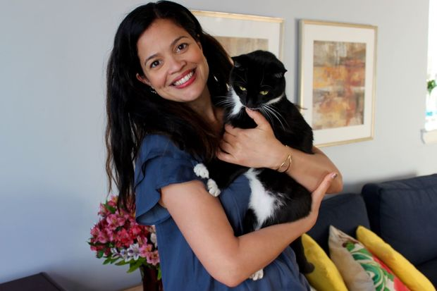 Jocelyn Morales and her cat Moonpie.