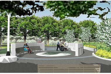 The schematic plan for the Vietnam Veterans Memorial in Elmhurst Park.