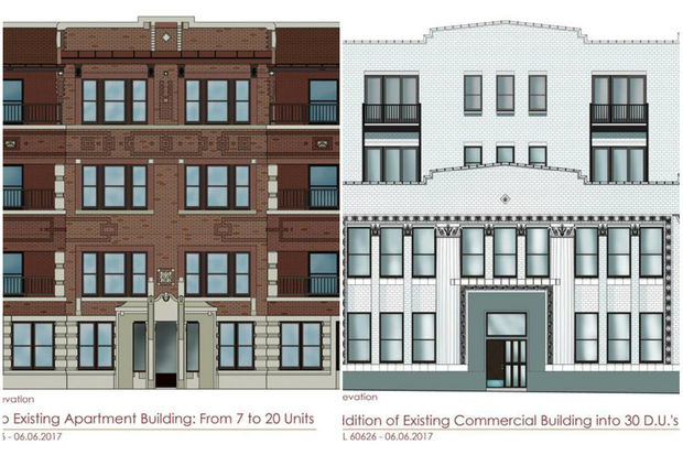 Renderings of plans for 1710 W. Lunt Ave. and 1730 W. Greenleaf Ave., respectively.