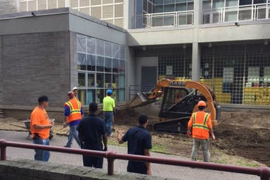 Workers bulldozed a rat-infested yard outside P.S./I.S. 217 last week.