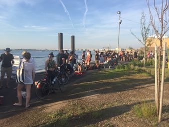 NYCFerry had to charter an additional boat to take riders to the beach this weekend. Here is a line of people waiting to leave the peninsula after a day at the beach.