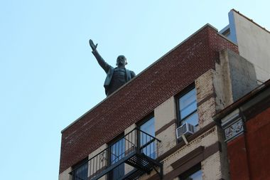 The iconic statue of Vladimir Lenin that previously sat perched on the nearby Red Square building now has a new home on Norfolk Street.
