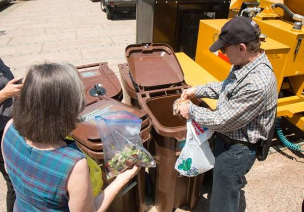 Locals compost food scraps at Hudson River Park on Monday, June 13.