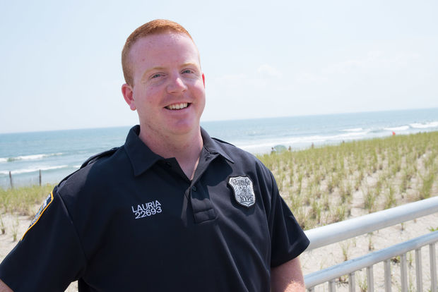 Officer William Lauria on the Rockaway boardwalk a day after rescuing a woman in the Atlantic Ocean.
