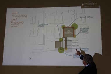 Doug Woodruff points out where lab space would replace the former home of the Checkerboard Lounge and Park 52.