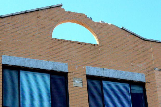 A lightning strike during Wednesday's storms sent bricks falling onto Lawrence Avenue.