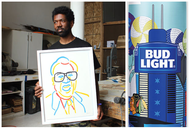 Brandon Breaux's artwork will be featured on limited-edition Bud Light aluminum bottles across Chicago.