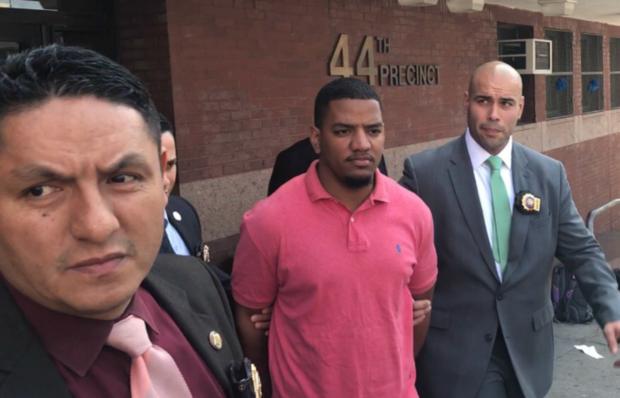 Accused avocado attacker Brad Gomez at The Bronx's 44th Precinct.