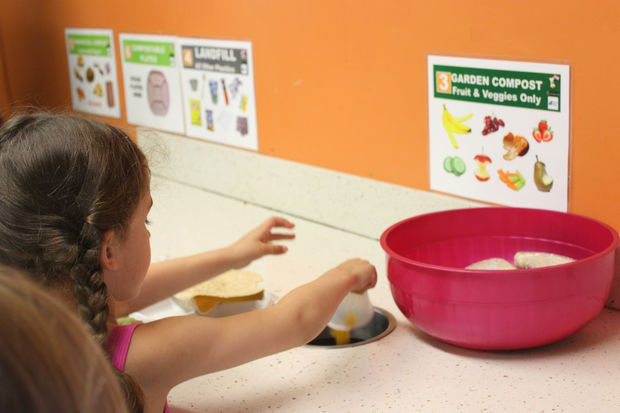 The school recycles or composts nearly 90 percent of its lunchroom waste.