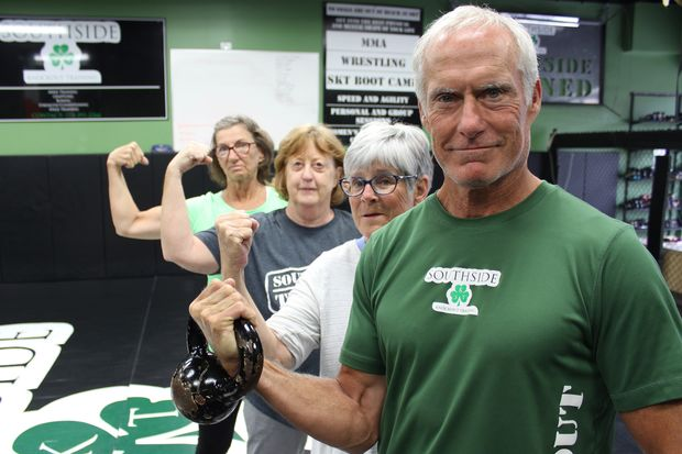 About 40 seniors exercise regularly at Southside Knockout Training Center in Mount Greenwood. Several said the specialized workouts are far more challenging than other fitness classes aimed at adults 55 and older.
