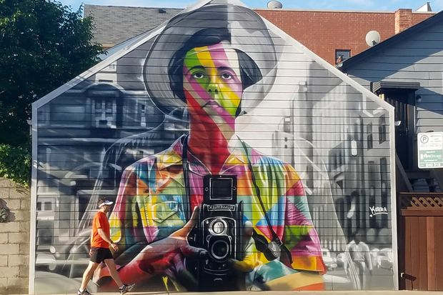 Kobra 39 s vivian maier mural livens up north avenue in for Mural in chicago illinois