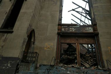 The Beth Hamedrash Hagodol synagogue was largely destroyed in a massive fire.