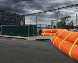 Just-in-time Tiger Dams, water filled tubes deployed before coastal storms, would be used at locations such as Van Brunt and Reed streets in Red Hook.