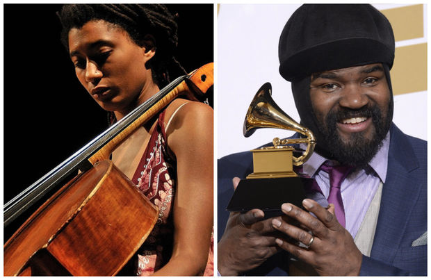 Tomeka Reid and Gregory Porter perform Monday at Millennium Park.