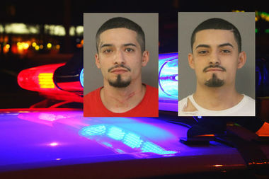 Marcos (left) and Michael Alarcon face charges of residential burglary after breaking into a house on Thursday.